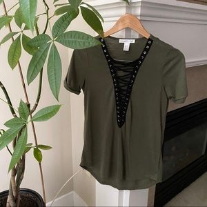 URBAN HERITAGE Green Lace up Short Sleeve T-shirt